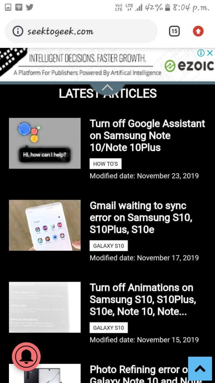enable dark mode on chrome app on s10 and note 10